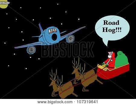 Santa Yells Out 'Road Hog'
