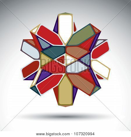 Rich 3D Abstract Figure Constructed From Triangles And Geometric Elements. Vector Complicated Design