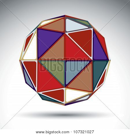 Vector Design Spherical Object With Kaleidoscope Effect, Dimensional Modern Geometric Element Isolat