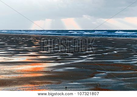 Dramatic Atmosphere On Beach With Sand Dunes