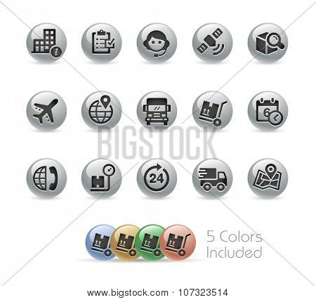 Shipping and Tracking Icons // Metal Round Series -- The vector file includes 5 color versions for each icon in different layers.