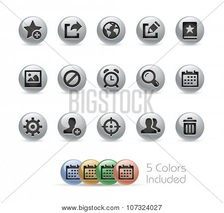 Web and Mobile Icons 2 // Metal Round Series -- The vector file includes 5 color versions for each icon in different layers.