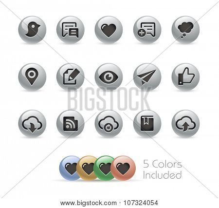 Web and Mobile Icons 8 // Metal Round Series -- The vector file includes 5 color versions for each icon in different layers.