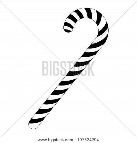 Candy Cane Striped Silhouette For Christmas . Vector Illustration Isolated On A White Background.