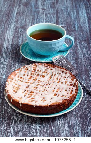 Cake With Icing Glaze On Plate