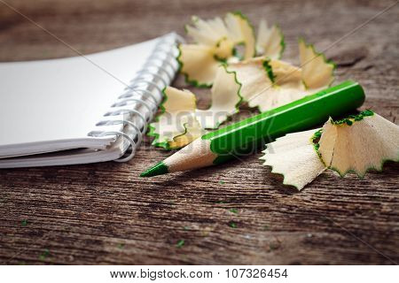 notebook with pensil