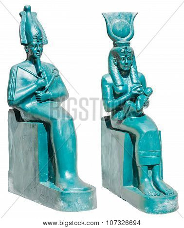 Statue Of Ancient Egypt Deities Osiris And Isis With Horus Isolated