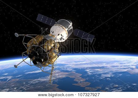 Interplanetary Space Station Orbiting Earth.