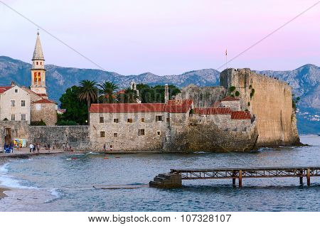 Evening View Of The Old Town, Budva, Montenegro