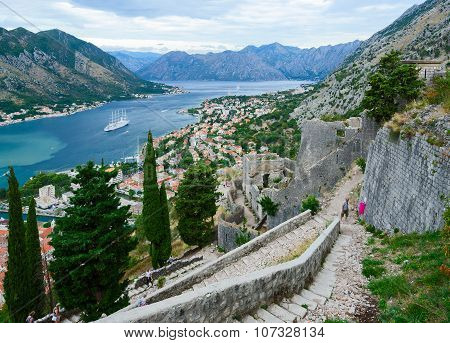 The Ancient Fortress Walls Above Kotor And Bay Of Kotor, Montenegro