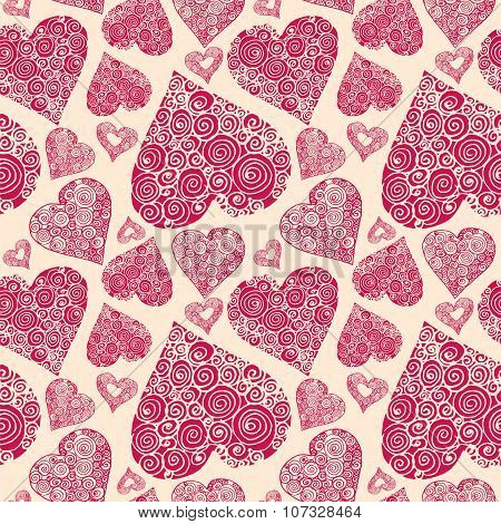 Vector Seamless Pattern With Romantic Decorative Hards