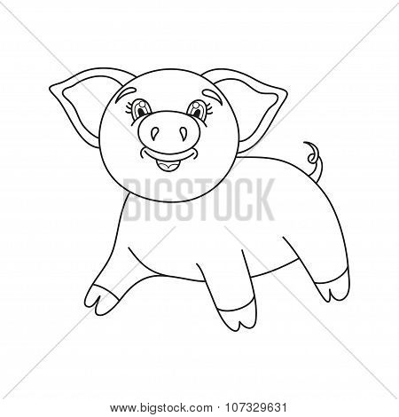 Vector illustration of cute pig, coloring book page