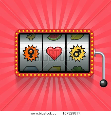 Heart And Gender Signs On Slot Machine