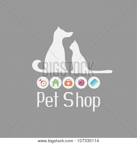 Cat and dog sign for pet shop logo, what they needs
