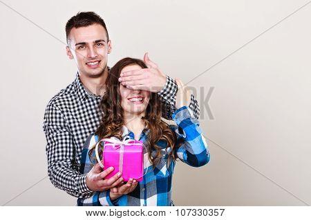 Happy Romantic Couple With Gift