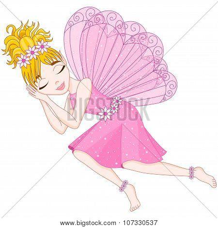 Cute fairy in pink dress is sleeping, eps 10
