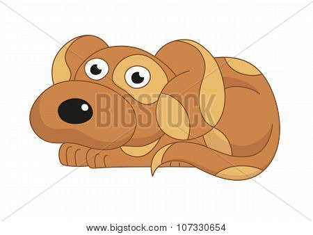 Vector illustration of cute dog surprising