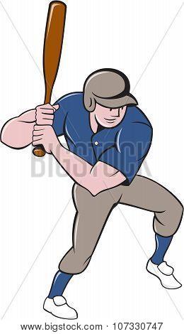 Baseball Player Batting Isolated Cartoon