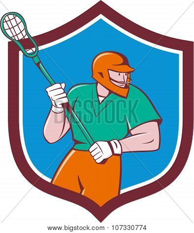 Lacrosse Player Crosse Stick Running Shield Cartoon
