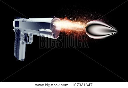 Bullet Fired From A Gun Isolated On Black