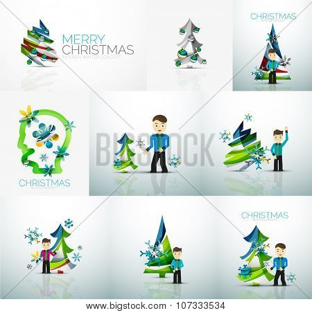 Businessman and New Year, Vector concept, set of illustrations