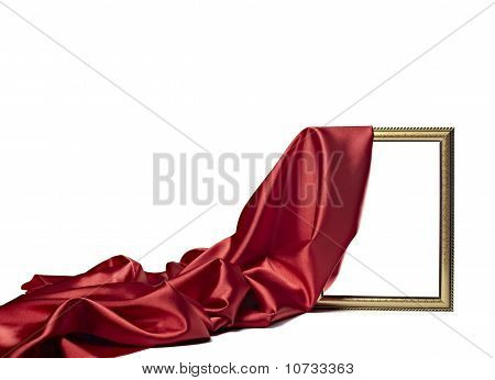 Silk Satin Fabric Texture Background Wooden Frame