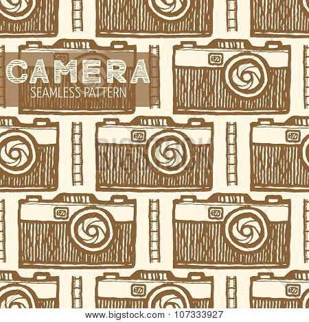 Old photo camera seamless pattern