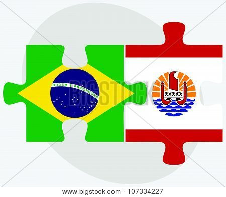 Brazil And French Polynesia Flags