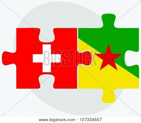 Switzerland And French Guiana Flags