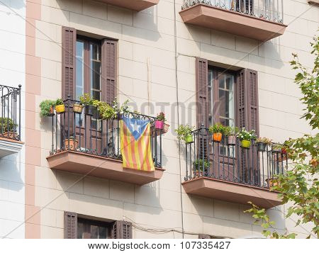 Catalan Nationalist Flag On The Balcony
