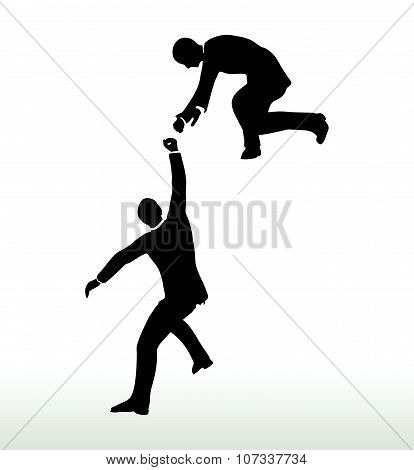 Businessmen Team Holding On With A Helping Hand