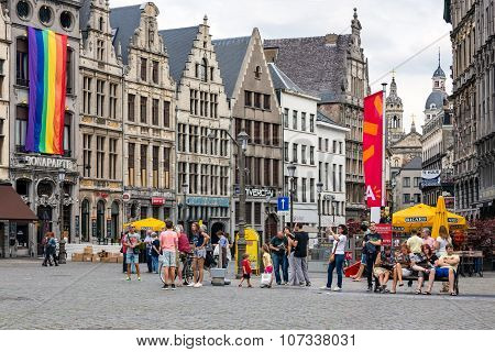 Tourists At  Square Grote Markt Downtown In Medieval City Antwerp