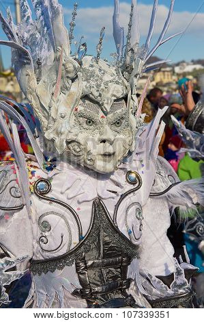 Person wears a carnival costume at Lucerne Carnival in Lucerne, Switzerland.