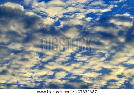 Heavenly Landscape With White Cumulus Clouds