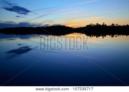 Evening Peace On The Lake Pongoma. Karelia, Russia