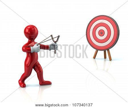Red Man Aiming Slingshot At Target