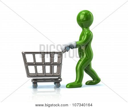 Green Man Pushing An Empty Shopping Cart