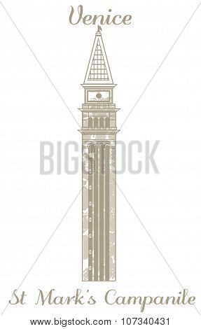 Vector Illustration Of St Marks Campanile