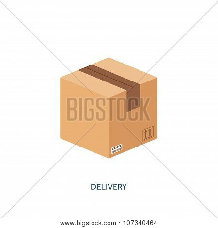 Vector illustration. Flat carton box. Transport, packaging, shipment. Post service and delivery.