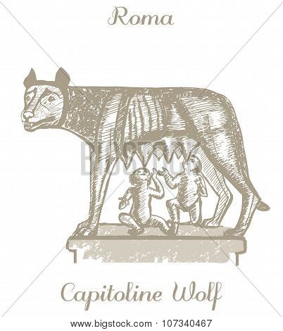 Vector Illustration Of Capitoline Wolf