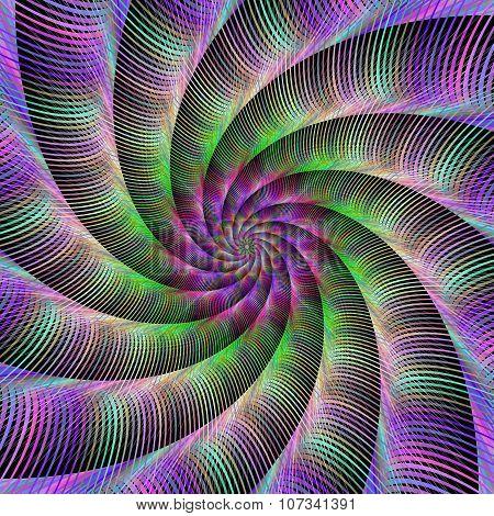 Multicolor striped spiral design background