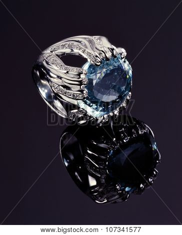 Ring With Blue Diamonds