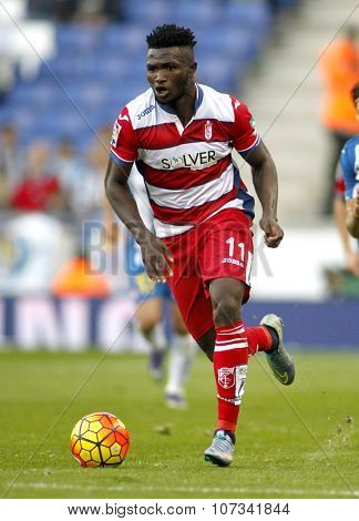 BARCELONA - NOV, 1: Isaac Success of Granada CF in action during a Spanish League match against RCD Espanyol at the Power8 stadium on November 1 2015 in Barcelona Spain