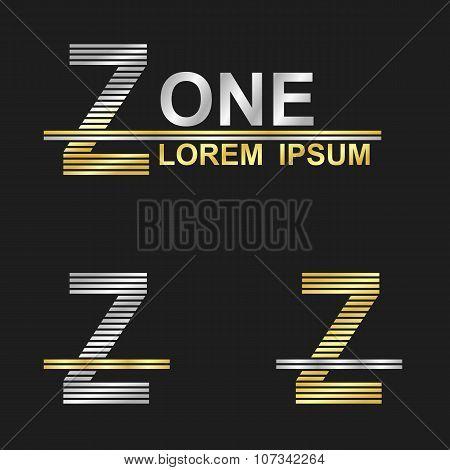 Metallic business font design - letter Z
