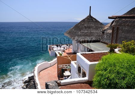 Picturesque beach club in Costa Adeje on Tenerife island