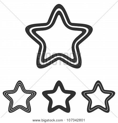 Black line pentagram logo design set