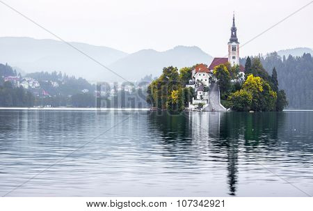 Island with church in the middle of the lake of Bled, Slovenia