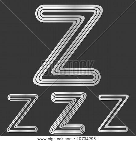 Silver line z logo design set