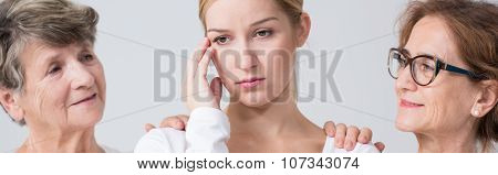 Worried Girl And Family