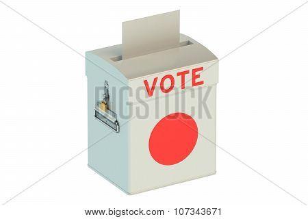 Ballot Box With Flag Of Japan